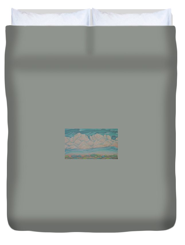 Landscape Duvet Cover featuring the painting Summer Sunrise by Jeniffer Stapher-Thomas