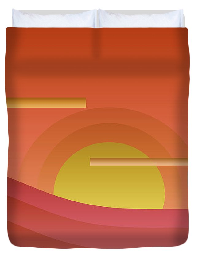 Abstract Duvet Cover featuring the painting Summer Sunset by Laura Greco