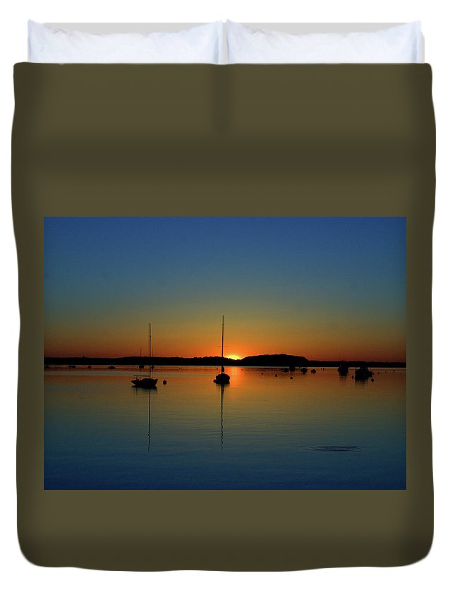 Cape Cod Duvet Cover featuring the photograph Summer Sunset Monument Beach by Bruce Gannon