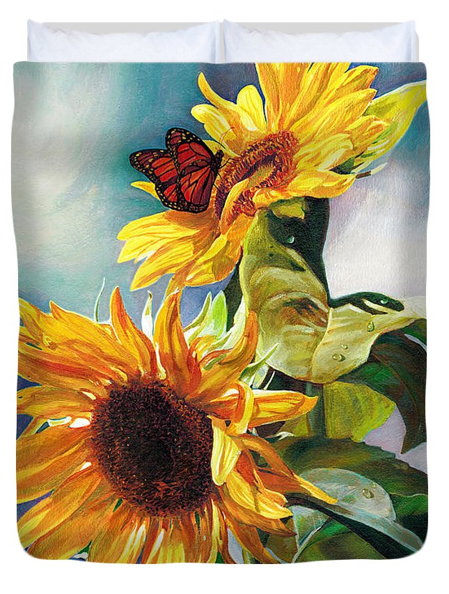 Sunflower Duvet Cover featuring the painting Summer by Svitozar Nenyuk