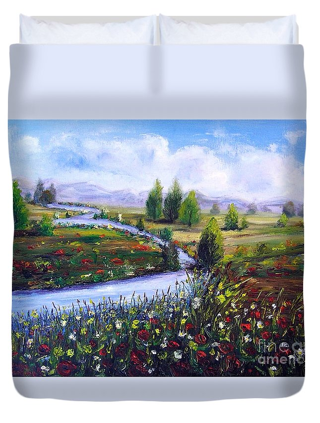 Landscape Duvet Cover featuring the painting Summer Time by Vesna Martinjak
