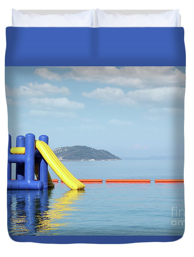 Sithonia Duvet Cover featuring the photograph Summer Vacation Scene With Water Slide by Goce Risteski