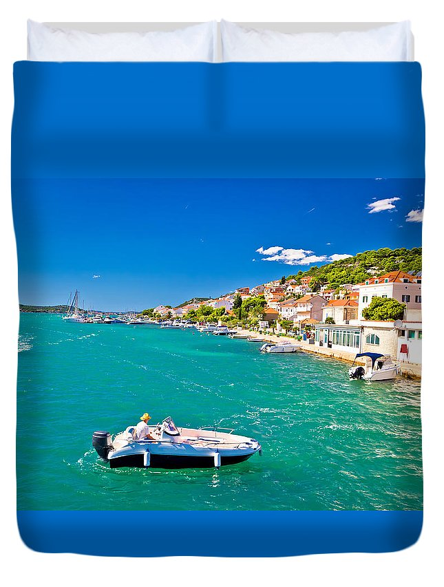 Murter Duvet Cover featuring the photograph Summer View Of Tisno Coast by Brch Photography