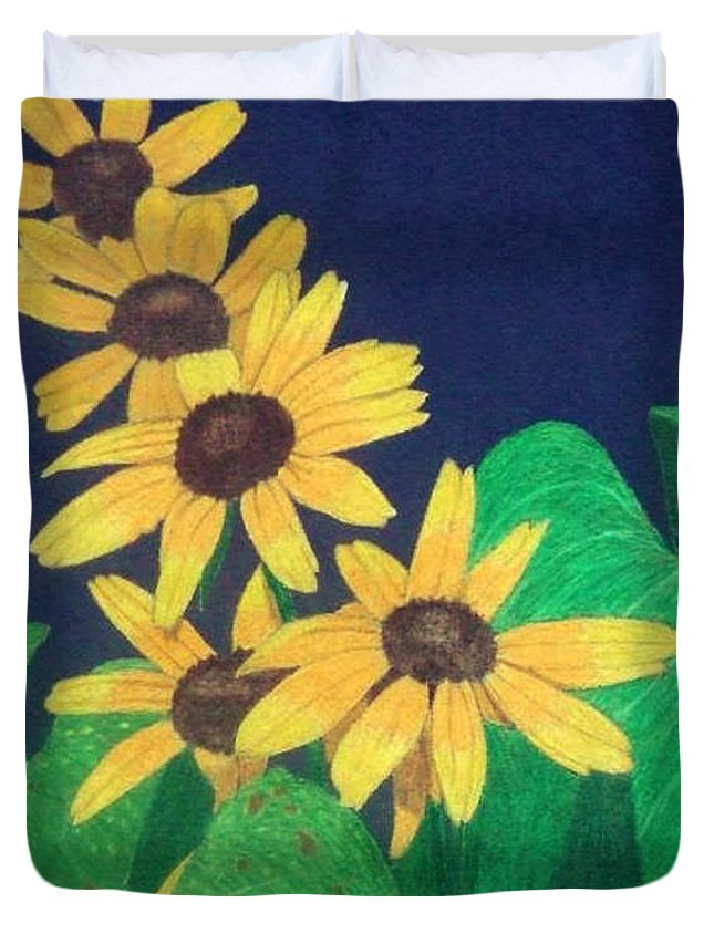 Black-eyed Susan Duvet Cover featuring the drawing Summers End by Anita Putman