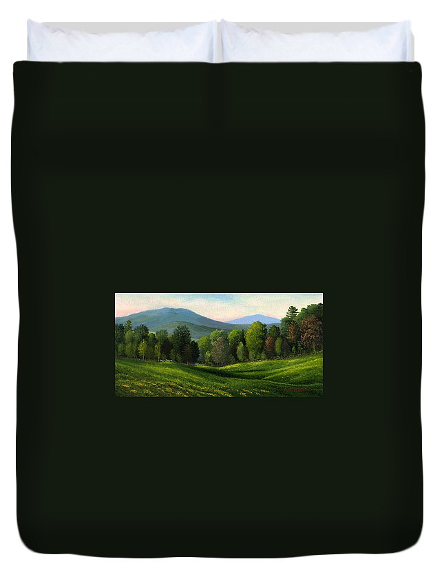 Landscape Duvet Cover featuring the painting Summers Ending by Frank Wilson