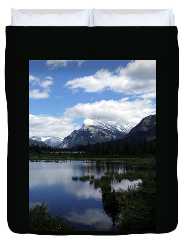 Landscape Duvet Cover featuring the photograph Summertime in Vermillion Lakes by Tiffany Vest