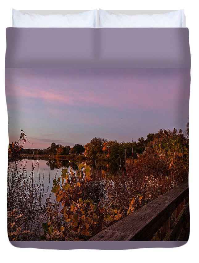 Summit Lake Duvet Cover featuring the photograph Summit Lake Magic Hour by Tim Fitzwater