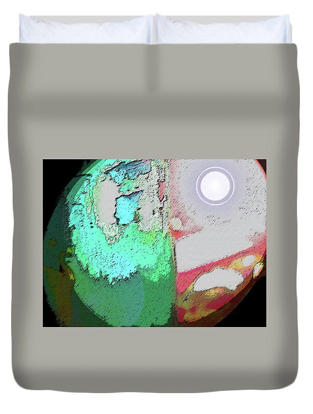 Abstract Duvet Cover featuring the digital art Sun - Moon - Earth by Lenore Senior