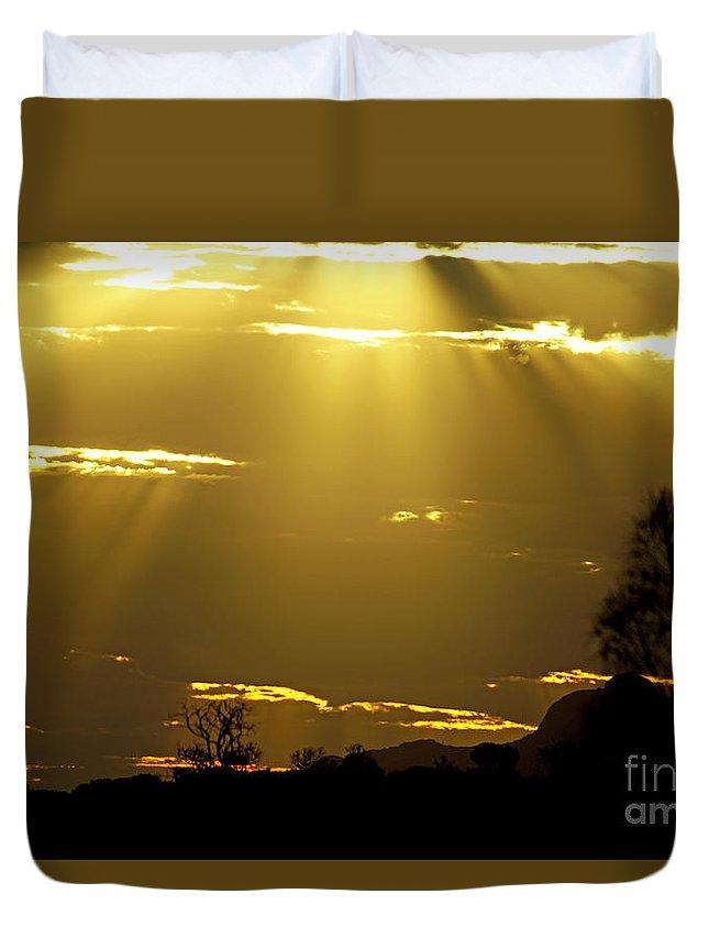 Sunset Duvet Cover featuring the photograph Sun 16 by Ben Yassa