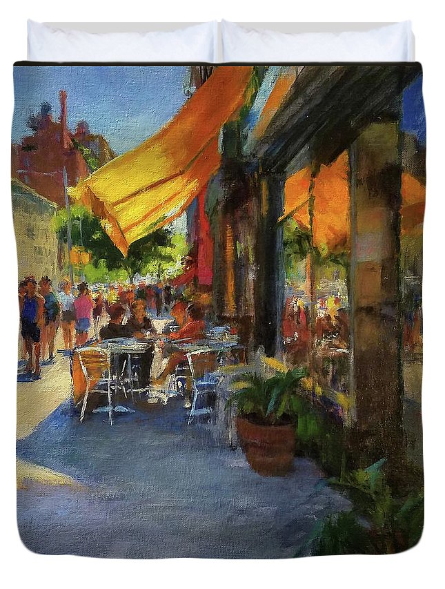New York Duvet Cover featuring the painting Sun And Shade On Amsterdam Avenue by Peter Salwen