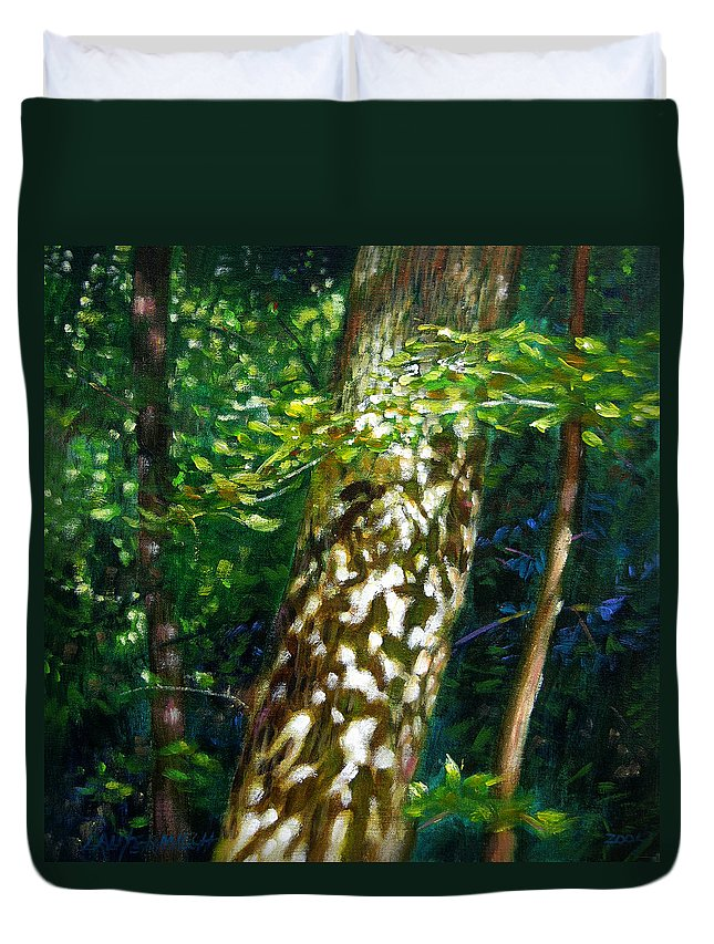 Tree Duvet Cover featuring the painting Sun And Shadow Patterns by John Lautermilch