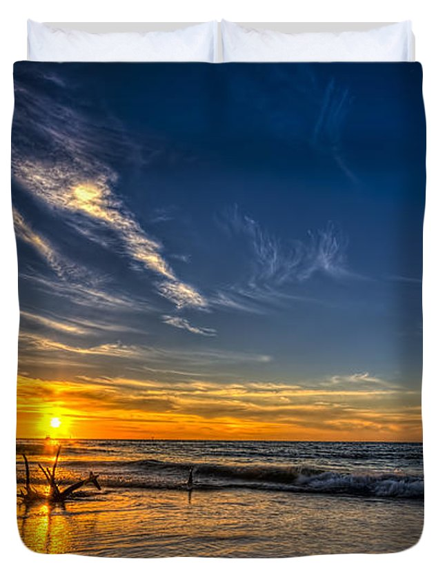 Still Standing Duvet Cover featuring the photograph Sun And Surf by Marvin Spates