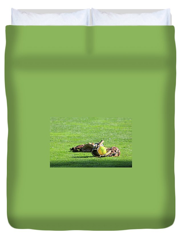 Softball Duvet Cover featuring the photograph Sun Bathing by Laddie Halupa