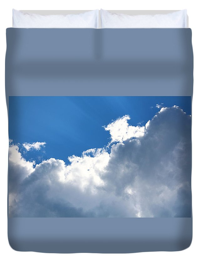 Sky Duvet Cover featuring the photograph Sun Behind The Clouds 2 by Chantelle Goehringer