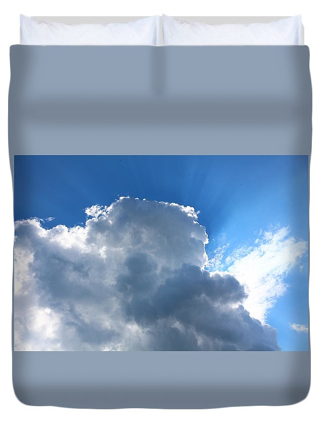 Sky Duvet Cover featuring the photograph Sun Behind The Clouds 4 by Chantelle Goehringer