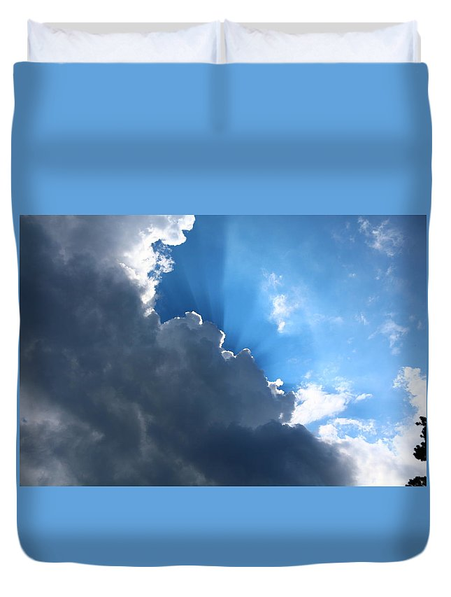Sky Duvet Cover featuring the photograph Sun Behind The Clouds 7 by Chantelle Goehringer
