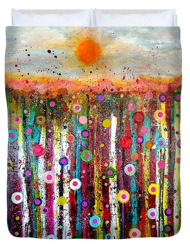 Landscape Duvet Cover featuring the painting Sun Bursts by Dana Garner