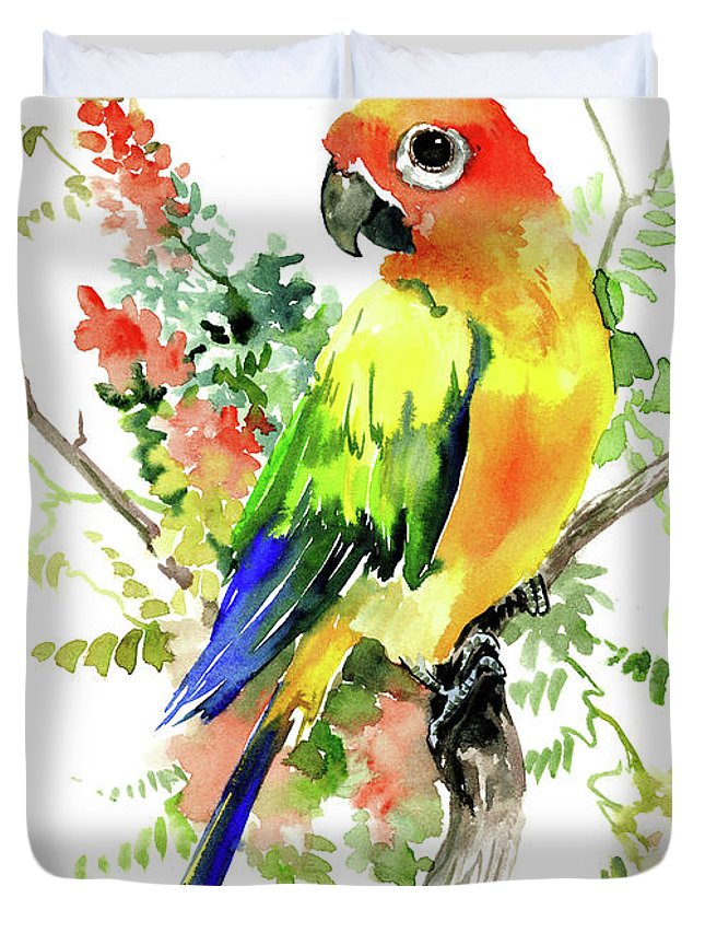 Sun Conure Parakeet Duvet Cover For Sale By Suren Nersisyan