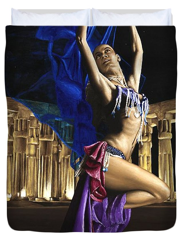 Belly Duvet Cover featuring the painting Sun Court Dancer by Richard Young