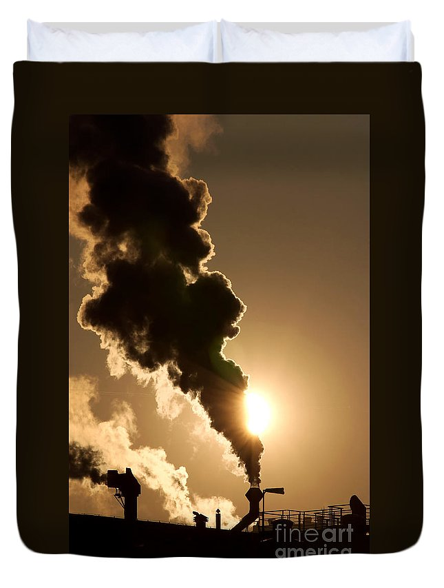 Abstract Duvet Cover featuring the photograph Sun Covered With Soot - Air Pollution by Michal Boubin