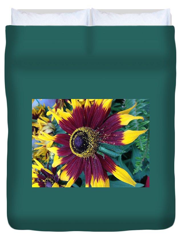 Flower Duvet Cover featuring the photograph Sun Fire by Tim Verplank