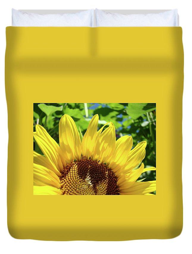 Sunflower Duvet Cover featuring the photograph Sun Flower Floral Art Prints Sunflowers Summer Garden by Baslee Troutman