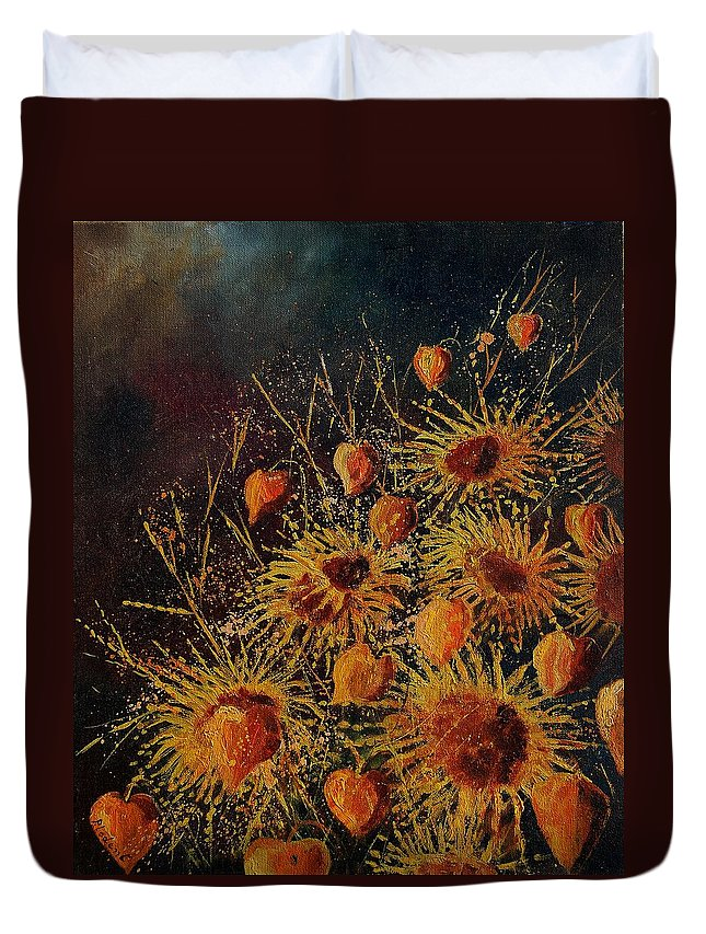 Flowers Duvet Cover featuring the painting Sun Flowers And Physialis by Pol Ledent