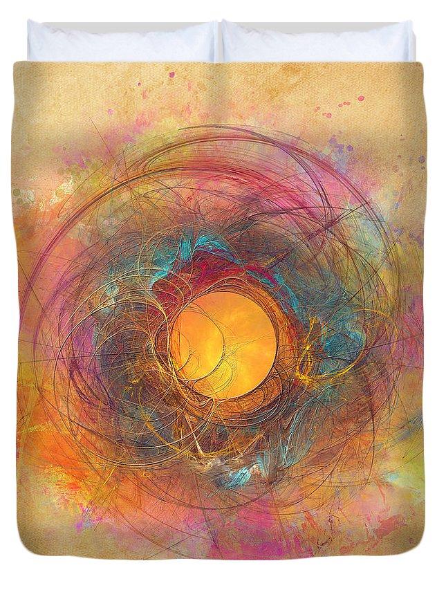 Fractal Duvet Cover featuring the digital art Sun fractal by Justyna Jaszke JBJart