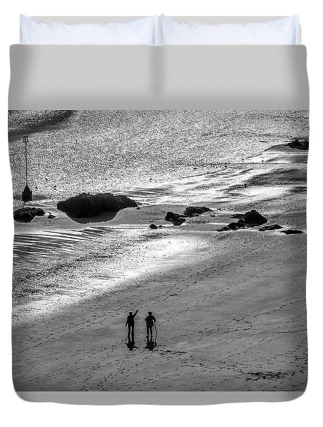 Europe Duvet Cover featuring the digital art Sun Glow Black And White by Tsafreer Bernstein