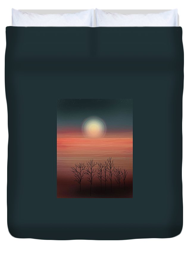 Sunset Duvet Cover featuring the painting Sun Going To Bed by Anne Norskog