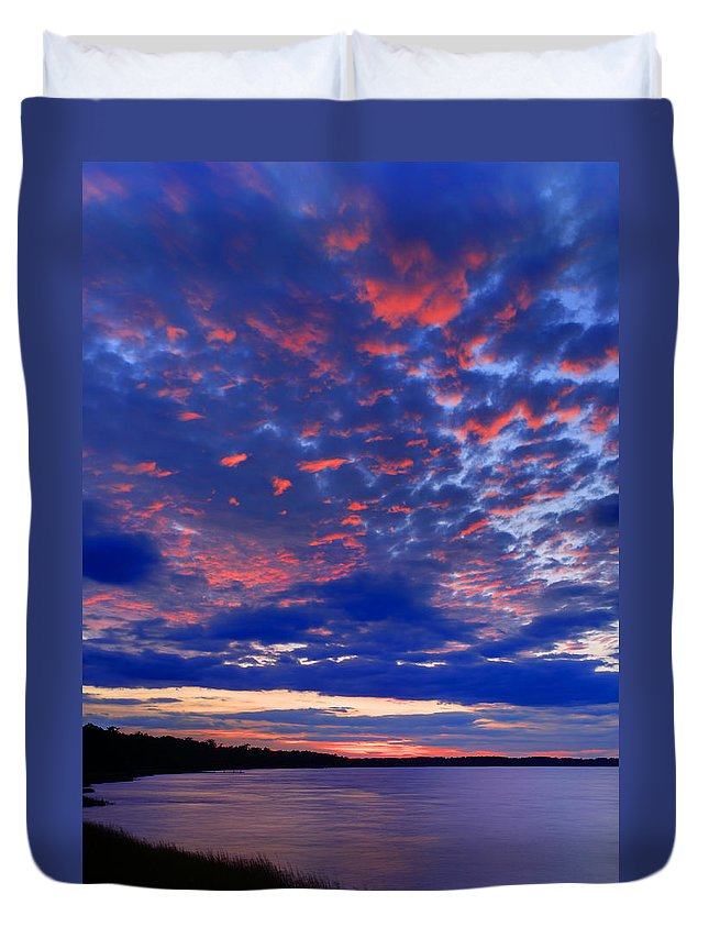Blue Duvet Cover featuring the photograph Sun Has Set by Phill Doherty