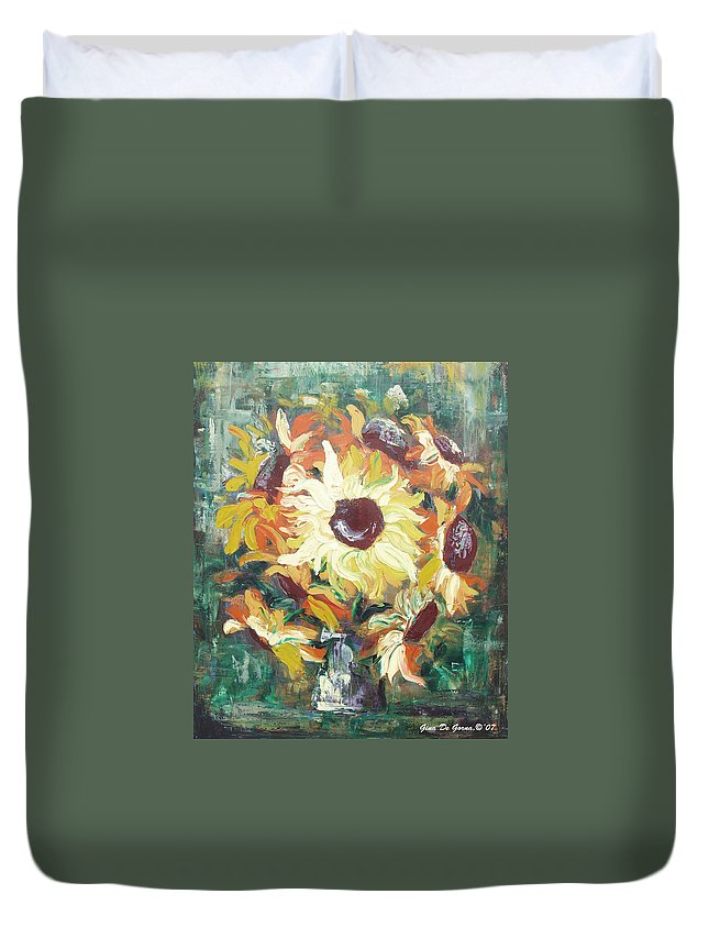 Sunflowers Duvet Cover featuring the painting Sun In A Vase by Gina De Gorna