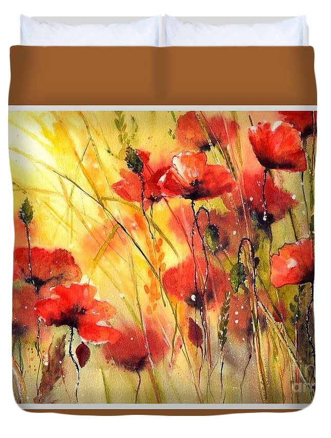 Red Duvet Cover featuring the painting Sun Kissed Poppies by Suzann Sines