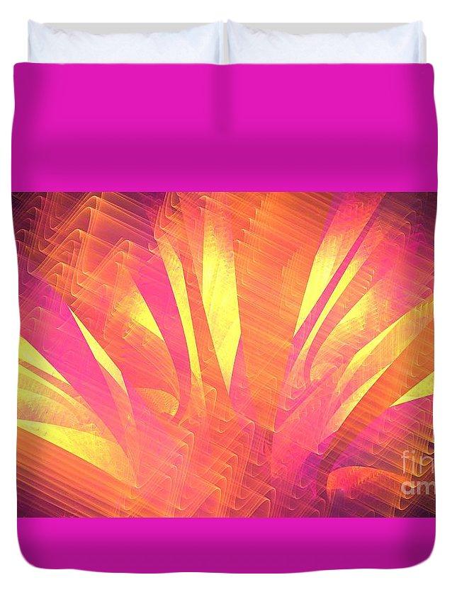 Apophysis Duvet Cover featuring the digital art Sun Leaves by Kim Sy Ok