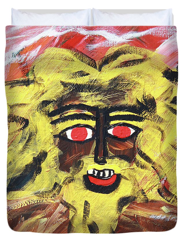 Duvet Cover featuring the painting Sun Of Man by Odalo Wasikhongo