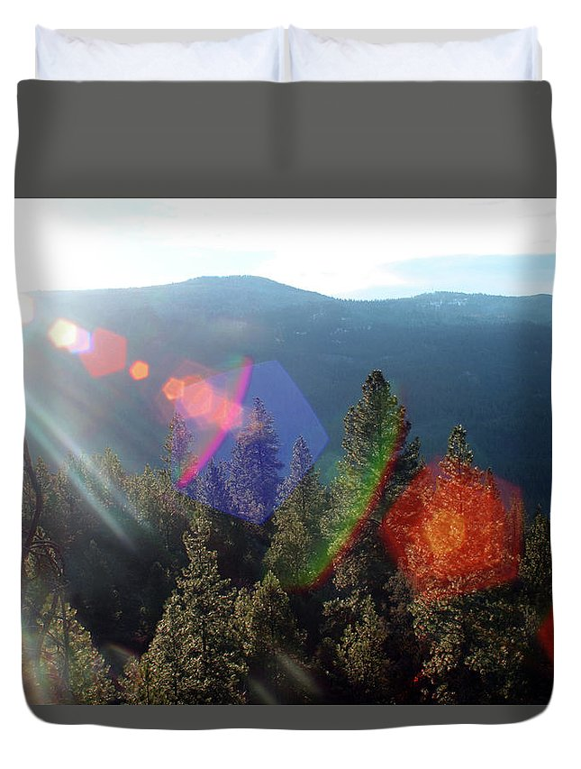 Landscape Duvet Cover featuring the photograph Sun Orbs by Gralyn Haller