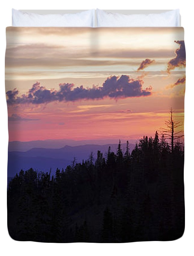 Sun Over Cedar Duvet Cover featuring the photograph Sun Over Cedar by Chad Dutson