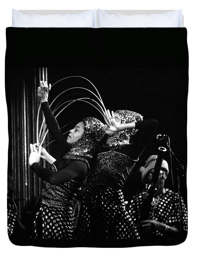 Sun Ra Duvet Cover featuring the photograph Sun Ra Arkestra And Dancers by Lee Santa