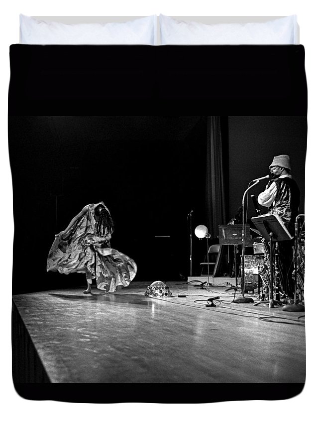 Jazz Duvet Cover featuring the photograph Sun Ra Arkestra At Freeborn Hall by Lee Santa