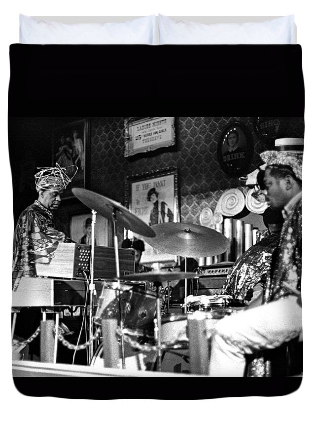Jazz Duvet Cover featuring the photograph Sun Ra Arkestra At The Red Garter 1970 Nyc 9 by Lee Santa