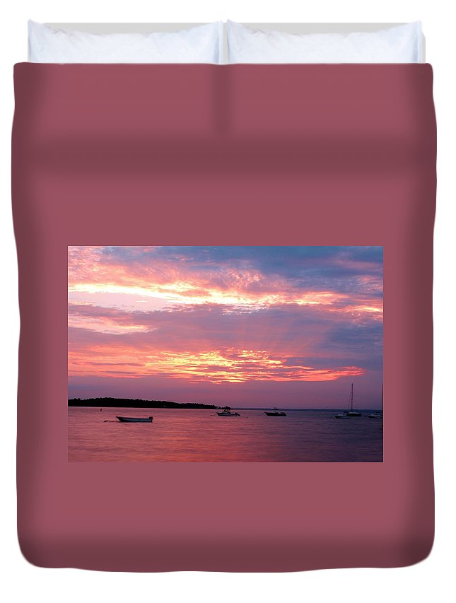 Long Island Sound Duvet Cover featuring the photograph Sun Rays Through The Clouds by Karen Silvestri