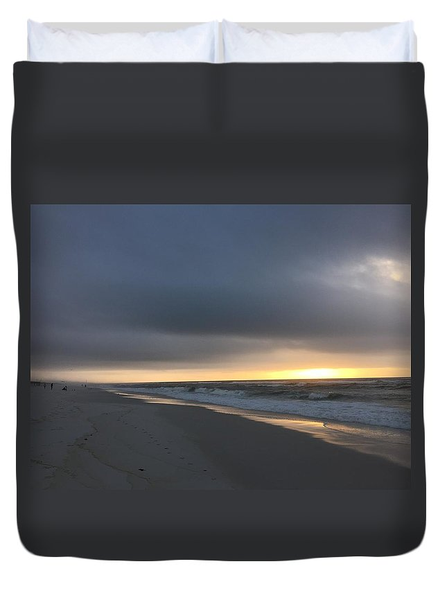 Landscape Duvet Cover featuring the photograph Sun-rise Cloudy Beach by Kenneth Christenson