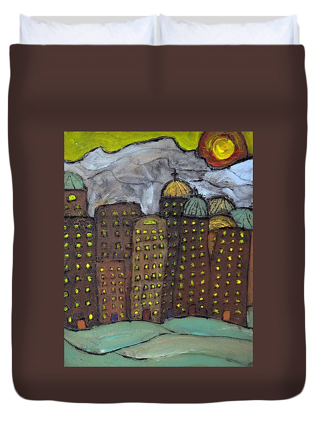 Buildings Duvet Cover featuring the painting Sun Rising On Olde Towne by Wayne Potrafka