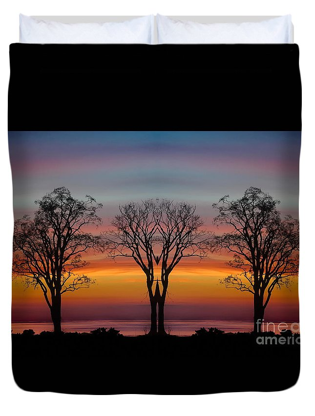 Sunset Duvet Cover featuring the photograph Sun Salutation by Andrea Kollo
