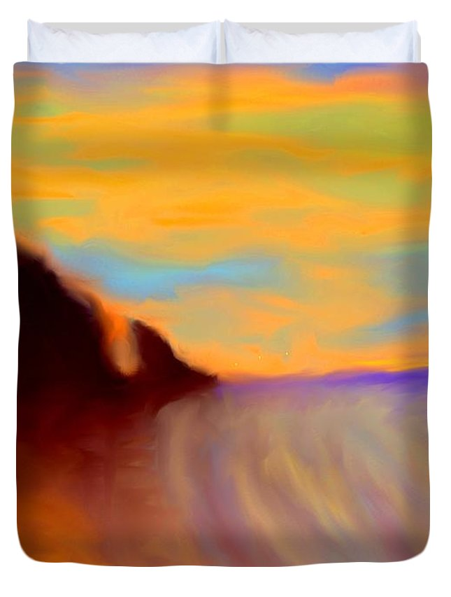 Abstract Duvet Cover featuring the photograph Sun Setting On Friars Bay by Ian MacDonald