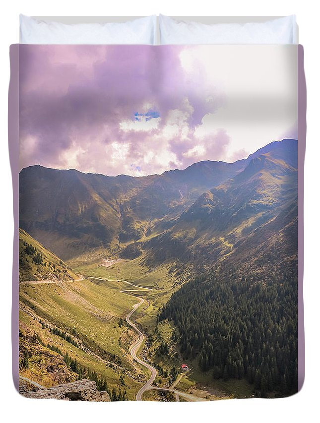 Mountains Duvet Cover featuring the photograph Sun Shining In The Valley by Claudia M Photography