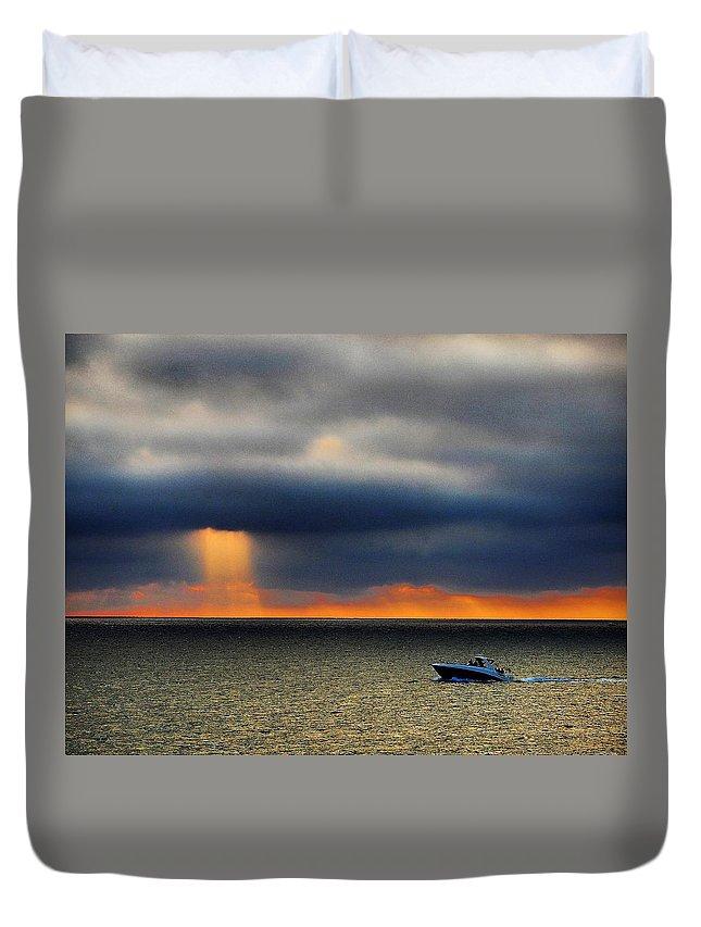 Redondo Duvet Cover featuring the photograph Sun Shower by Greg Kear