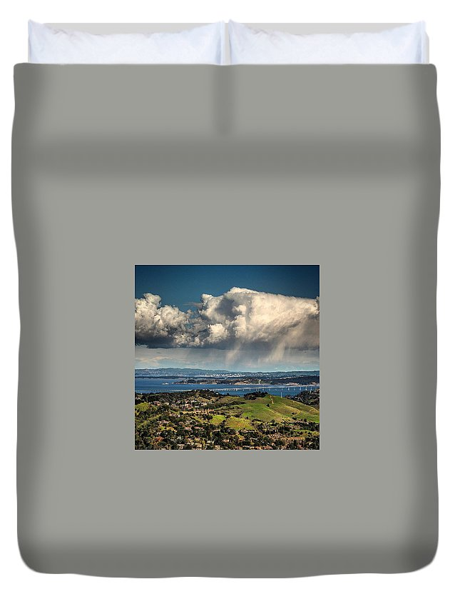 Clouds Duvet Cover featuring the photograph Sun Shower by Michael Krugman
