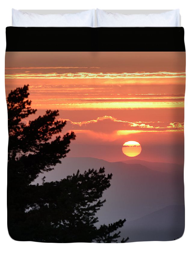 Sunset Duvet Cover featuring the photograph Sun Through The Clouds And Trees Sunset At The Mountains by Guido Montanes Castillo
