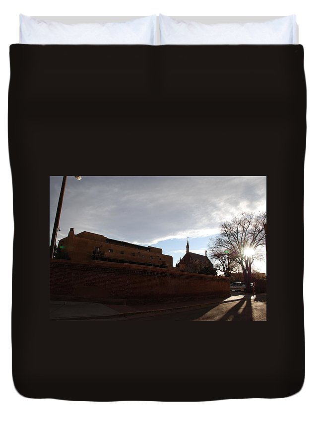 New Mexico Duvet Cover featuring the photograph Sun Thru The Trees by Rob Hans